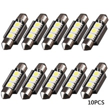 10pcs White 36MM 3 SMD LED 5050 Festoon Dome 12v Car Light Interior Car Auto Bulb License Plate Light For Audi BMW Benz