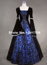 Brand New 2017 Medieval Dark Queen Renaissance Wench Velvet Princess Gown Long Prom Party  Dresses Robe De Soiree