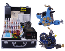 tattoo supplies equipment permanent makeup tattoo kit complete tattoo machine set 2 guns with carrying case box