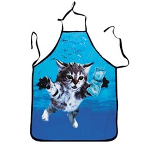 1Pcs Lovely Cat Blue Adult Apron Bibs Home Cooking Baking Party Funny Cleaning Aprons Kitchen Accessories Gift 46078