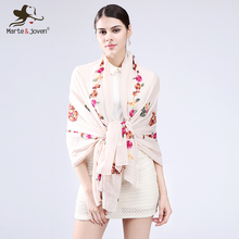 [Marte&Joven] 11 Color Flower Embroidered Scarves and Wrap for Women Spring Autumn Chinese Style Soft Sunscreen Beach Shawls