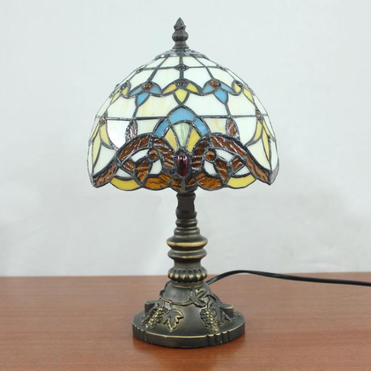 Luxurious Vintage Table Lamp Tiffany Baroque Table Lamp Study Room Bedroom Bedside Decorate Stained Glass Desk Light Dia20cm<br><br>Aliexpress
