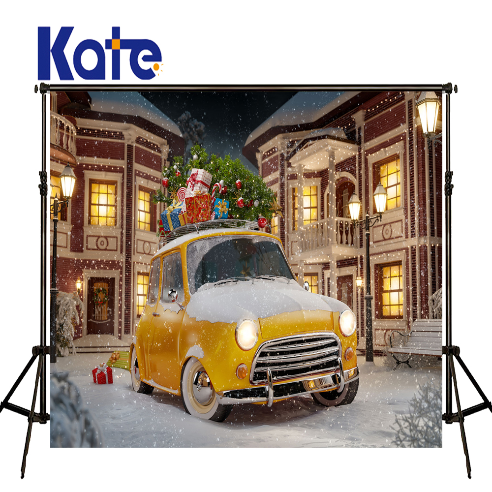 KATE Photography Backdrops Kid Christmas Backdrop Winter Snow Street Backdrop European Building Background Children Car Photo<br>