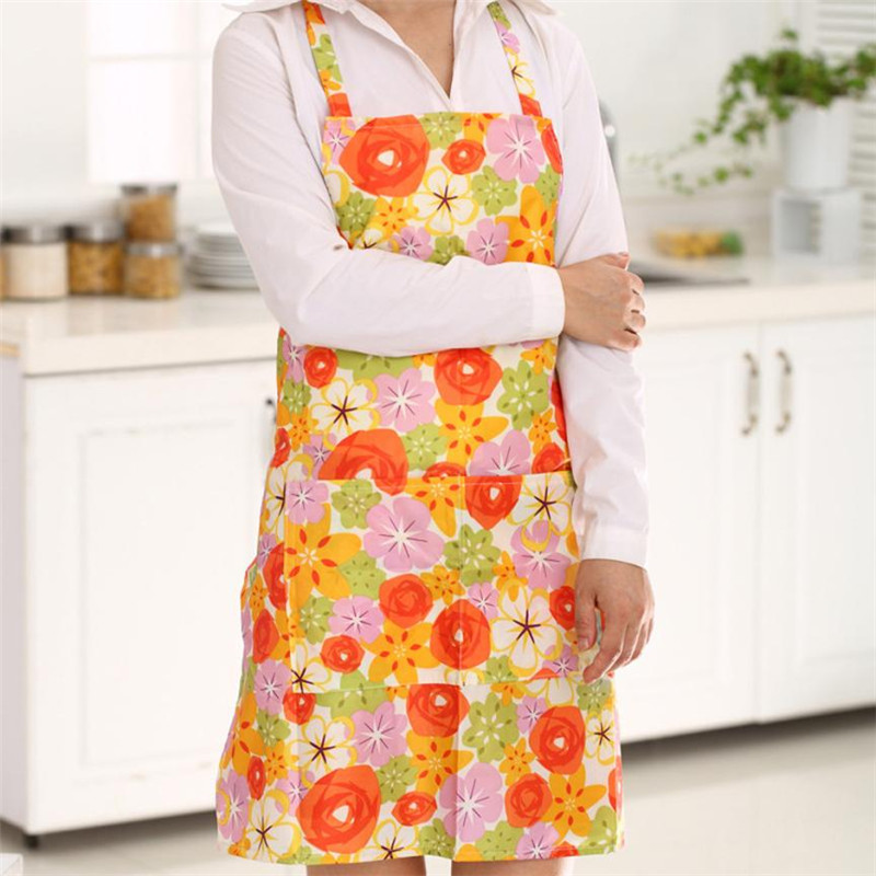 Women Dress Restaurant Home Kitchen Cooking Apron Bib Floral Pattern Precise02