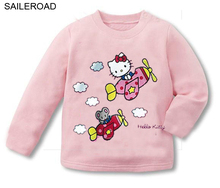Retails cute hello kitty spring kids girl's long sleeve clothes hello kitty kids fashion tops t shirt clothes SAILEROAD