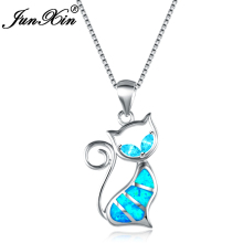 JUNXIN 2017 New Brand Design Women Cat Necklace Blue Fire Opal Necklaces & Pendants Fashion 925 Sterling Silver Animal Jewelry(China)