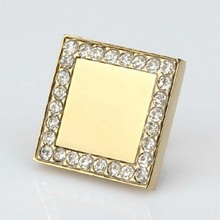Square diamond knobs glass crystal drawer knob shiny gold kitchen cabinet door  handle dresser cupboard furniture knobs