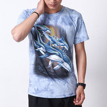 Dolphin Short Sleeve 3D Full Print Fashion Men T-shirt Cotton O-neck Animal Man Tees Summer T Shirt Casual Tie dye Funny A809