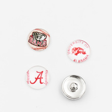 Mixed 50PCS Alabama Crimson Tide Glass Button Snaps Sports Jewelry Fit 18MM Button Snap Bracelet(China)