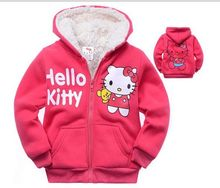 fashion hello kitty kid baby girls children velvet plus winter clothing cotton cartoon character hoodies sweatshirts outerwears