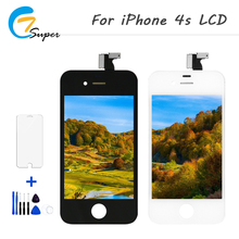 ET-Super 1pcs For iPhone 4S LCD Display Touch Screen For iPhone 4S Digitizer Display Assembly additional Tool and tempered glass(China)