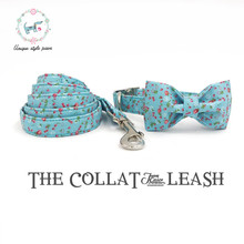 The bule  dog  collar and lead set with bow tie  cotton  dog &cat necklace and dog leash  for pet supplies