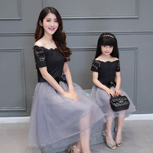 Summer Slim daughter Princess dress Family fitted strapless dress patchwork lace collar party dress Family Clothing Vestidos
