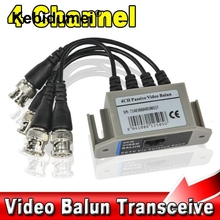 BNC 4CH Video Balun UTP Passive Coax Transmission Cat 5 RJ45 Transceiver 4 Channel CAT5 CCTV Camera Transceiver Receiver Cable(China)