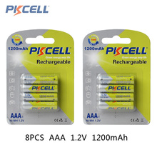 8Pcs*PKCELL Battery AAA Pre-charged NIMH 1.2V 1200mAh Ni-MH 3A Rechargeable Batteries Up to 1000mAh Capacity Cycle 1200times