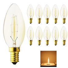 10X Tungsten vintage Edison lamp Dimmable 40W G35Carbon Art antique style light bulbs Warm White E14 220V Halogen Bulbs Lighting(China)