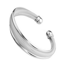 High Quality Germany Plating Process Silver Plated Bracelet Wire Mesh Opening Bangles(China)