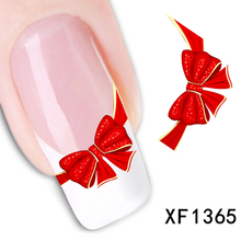 1sheets Hot Water Transfer Nail Art Stickers Red Bow Ties Decals DIY Designer Manicure Nail Art Decor Tools TRXF1365(China)