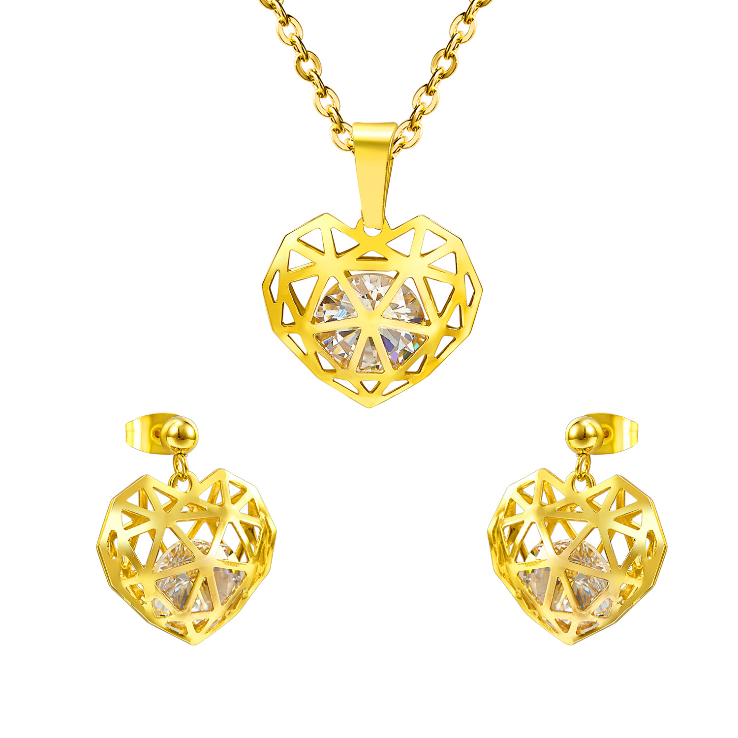 2018 LUXUSTEEL Hot Selling Hollow Out Heart Shaped Pendant CZ