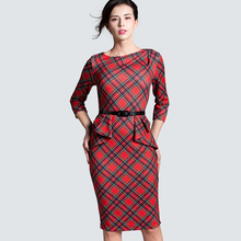 Spring Autumn Women Elegant Red Tartan Plaid Ruffle Ruched Office Work Business Casual Party Pencil Sheath Dress B267(China)