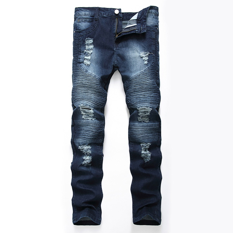 Aolamegs Men Jeans Pants Hole Ruched Full Length High Street Crest Multiple Colors High Elastic Light Cultivation Denim Straight (22)