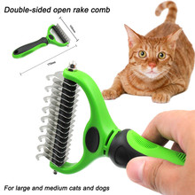 Pet Dog Cat to brush double-sided open rake comb dog beauty knot faded hair comb Fur Grooming Deshedding Trimmer Tool Comb(China)