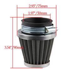 50mm Motorcycle Air Filter Air Pods Scooter Air Cleaner High Filtration Dirt Pit Bike Dust Tube Gauze Metallic Clamp-on ATV(China)