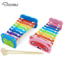 Wooden Hand Knock 8 Tones Cartoon Animal Small Knock Piano Xylophone Toy Children Educational Musical Instruments Toys Best Gift