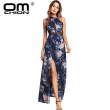 OMCHION Boho Summer 2018 Vintage Floral Printed Women Chiffon Dress Backless Hollow Out Sexy Bohemian Beach Long Dresses LQ125(China)