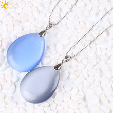CSJA Big Blue Grey Cat Eye Opal Gem Stone Costume Bubble Necklace Water Drop Pendant Classic Women Jewelry Beaded Chain E160