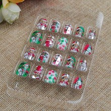 For Kids children Christmas 20pieces/set Colorful 3D Fashion Cute Style Plastic Art Short Fake False Sticker Nail Tips(China)