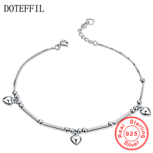 New 100% Sterling Silver Anklet Woman Charm 6mm Heart 925 Silver Fashion Anklet Luxury Brand Jewelry(China)