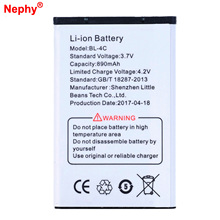 2017 Original Nephy Battery BL-4C For Nokia 6102 6136S 7705 Twist 8208 C1-00 C2-05 6170 6260 6300 6301 7200 Cell Phone Batteries