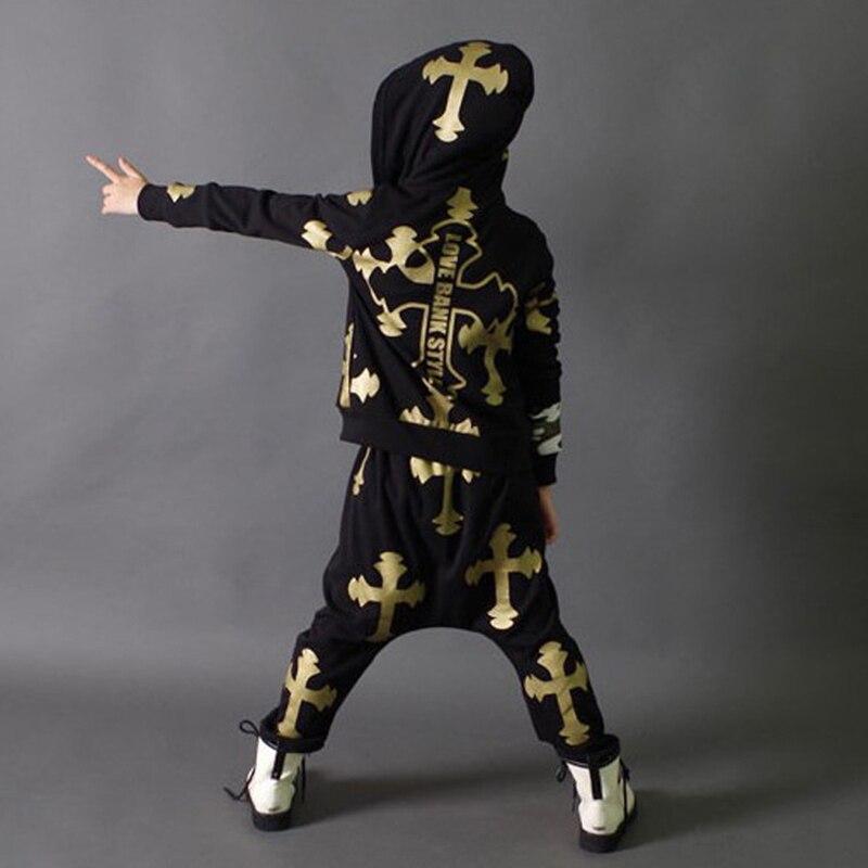 2018 Fashion Kids Modern Dance Costume Jazz Hip Hop Dance Costumes Set Tops Pants For Girls Boys Dancing Clothing H33<br>