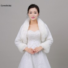Best Selling High Quality Long Sleeves White Wedding Accessories Fur Bolero Bridal Jacket Coat Winter Wrap Size S M L