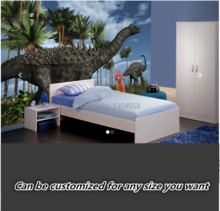 Free shipping custom modern large-scale murals sitting room childrens room Wandering Dino s Wallpaper Wall Mural silk fabric<br>