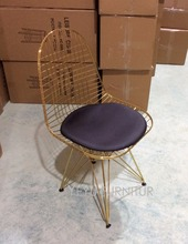 Modern Gold Color Wire Chair eiffel base Modern Classic Wire Chair Cafe Metal Wire Chair With Cushion gold color Pad wire Chair