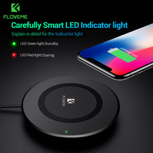 FLOVEME 5W QI Wireless Charger Pad For Samsung S8 S7 Galaxy Note8 LED Cooling Vent Design For iPhone X 10 8 Plus Charging Pad(China)