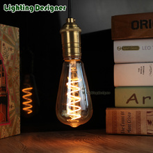 ST64 LED vintage lamp bulb spiral new design soft LED filament 4W 220V E27 Edison bulb commercial light bulb night lamp bulb