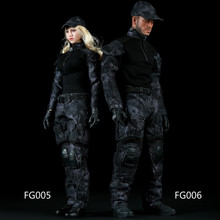 Estartek Fire Girl FG005 FG006 1/6 Black Python Camouflage Combat Uniforms for 12inch Phicen Hottoys Soldier Action Figure DIY(China)