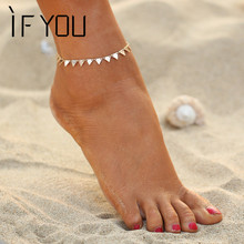 IF YOU 2017 2 Colors Charming Triangle Bracelet Anklet Foot Jewelry Women Ankle Leg Jewelry Chain Bracelet Fashion Jewelry