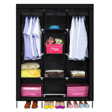 Best New Triple Nonwovens Wardrobe Home Bedroom Decor Clothes Clothing Storage Wardrobes(black)(China)