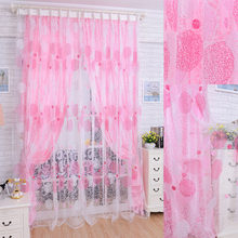 Nest Floral Voile Door Curtain Window Room Curtain Divider Scarf Pink Quality all-match window screens tulle sheer solid voile(China)