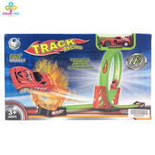 Kids Track Car Toy Assembly Children Train Pull Back Car Racing Track