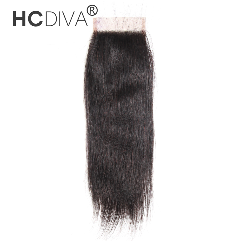 [HCDIVA] Human Hair Lace Closure Peruvian Straight Hair Closure 4X4 Free Part with Baby Hair 8-20 inch Non-Remy Free Shipping