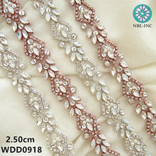 (10 yards) Wholesale bridal beaded sewing silver rose gold crystal  rhinestone applique trim iron on for wedding dress WDD0918 6d6db3ad4e6b