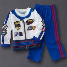 Racing Fast Baby Boys Clothes Children Sport Suits 2016 Autumn Fashion Boys Tracksuits Kids T-Shirts Trouser Blue F1 Costumes