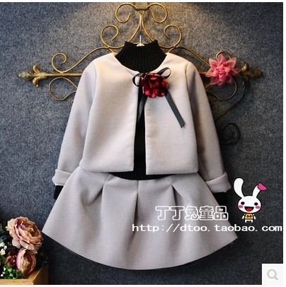 2017 girls winter wool cardigan skirt a button set of two South Korean childrens clothing lovely wind set free shipping<br><br>Aliexpress