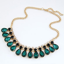 2017 Fashion Vintage Gold Chain Green Imitated Gemstone Jewelry Waterdrop Choker Necklaces Pendants Statement Necklace Women Men