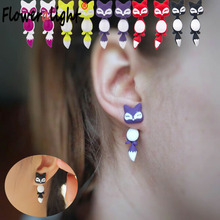 Fashion Purple Cute Fox Small Animal Stud Earrings For Women Jewelry Korean Aros Earings For Girls Christmas Gifts Brinco SXR424(China)
